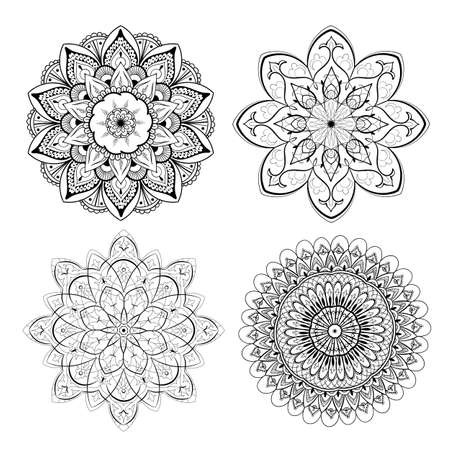 A set of beautiful mandalas and lace circles. Round gradient mandala vector. Traditional oriental ornament with a concentric gradient. Vector element for applying to objects for yoga, meditation, spiritual practices.