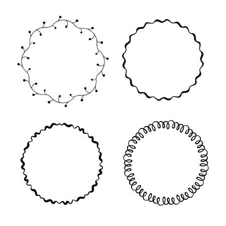 Vector set of hand drawn round frames. Vector isolated illustration.