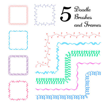 Vector set of five hand drawn brushes with corner tiles. Seamless pattern of different colors for frames, borders and design elements.
