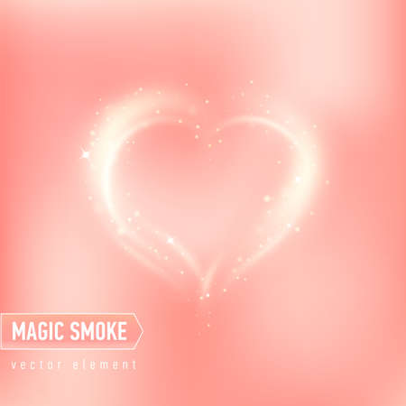 Heart of magic smoke. Illustration on pink background for design for Valentine day or other. Vector Ilustração