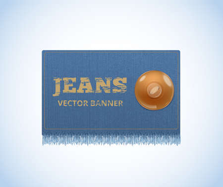 Background of Denim texture. Jeans realistic banner. Vector Ilustração