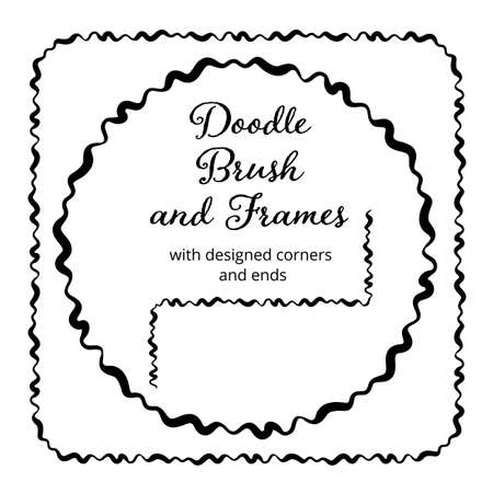 Vector round and square frames and hand drawn brush for them. Vector isolated illustration.