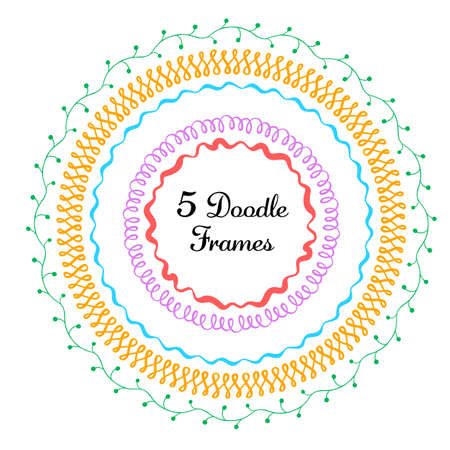 Vector set of hand drawn round frames. Vector isolated illustration. Brushes with corner tiles and ends are included Ilustração
