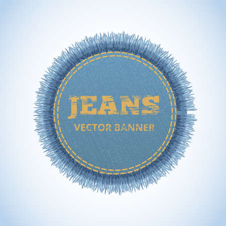 Vector realistic banner of jeans. Realistic denim banner with texture and fringe. Ilustração