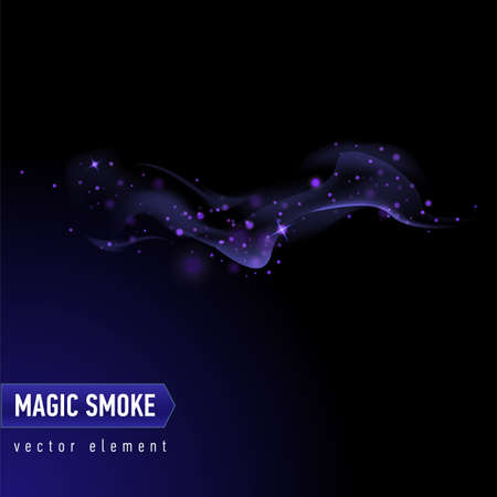 Dark blue background with smoke and stars. Magical smoke for food advertising and package. Ilustração