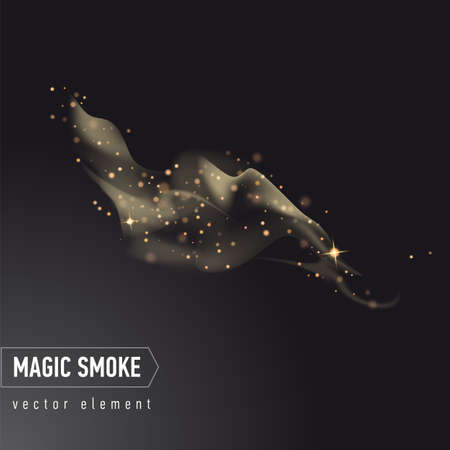 Dark background with smoke and stars. Magical smoke for food advertising and package. Ilustração