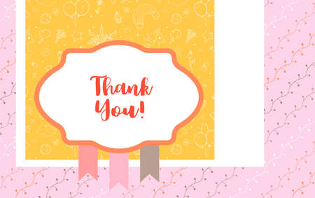 Design template for cute Thank you card . Template for scrapbooking with hand drawn doodle patterns. For birthday, anniversary, party invitations. Vector