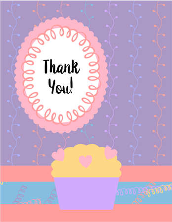 Design template for cute Thank you card . Template for scrapbooking with hand drawn doodle patterns. For birthday, anniversary, party invitations. Vector Ilustração