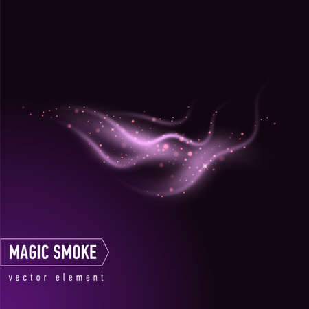 Dark purple background with smoke and stars. Magical smoke for food advertising and package. Ilustração