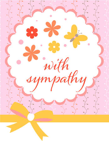 Design template for cute sympathy card . Template for scrapbooking with hand drawn doodle patterns. For birthday, anniversary, party invitations. Vector Ilustração