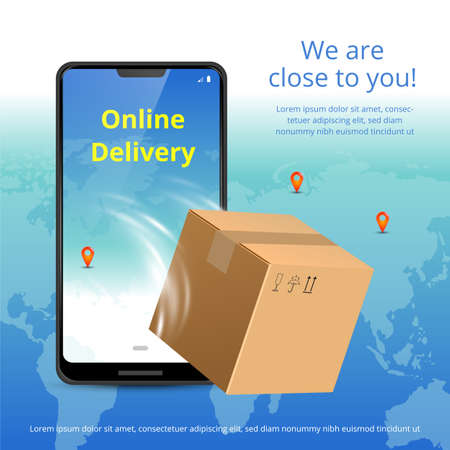 Online delivery service concept. Realistic phone, plane and package box. Suitable for banner, background, application, poster, on mobile. Horizontal view Ilustração