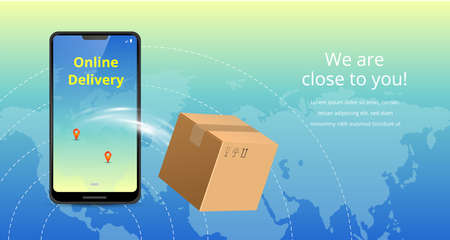 Online delivery service concept. Realistic phone, plane and package box. Suitable for landing page, delivery website, banner, background, application, poster, on mobile. Horizontal view