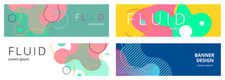 Colorful geometric background. Fluid shapes composition. Abstract banner template.