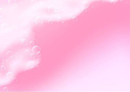 Beautiful light background with Bath pink foam and empty place for your text. Shampoo bubbles texture. Sparkling pink shampoo and bath lather. Vector realistic illustration.
