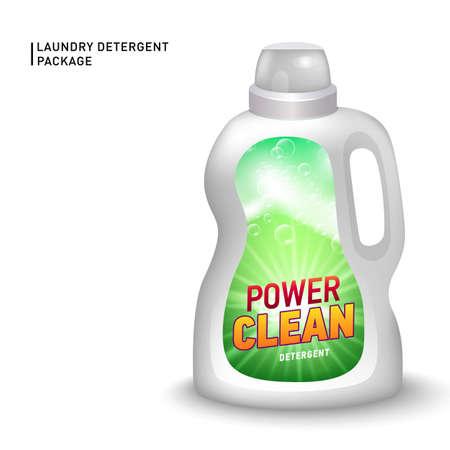 Realistic mock up of container for liquid detergent with designed etiquette. Detergent package. Vector Illustratie
