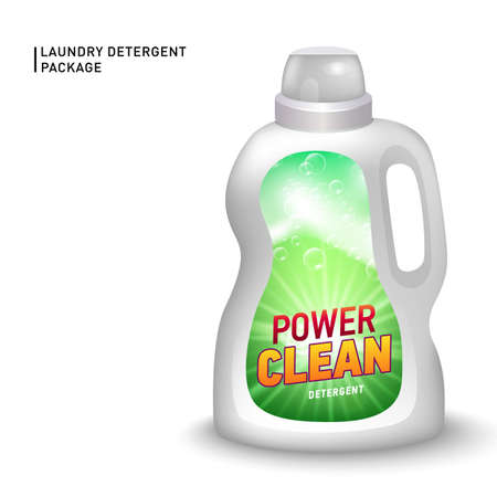 Realistic mock up of container for liquid detergent with designed etiquette. Detergent package. 向量圖像
