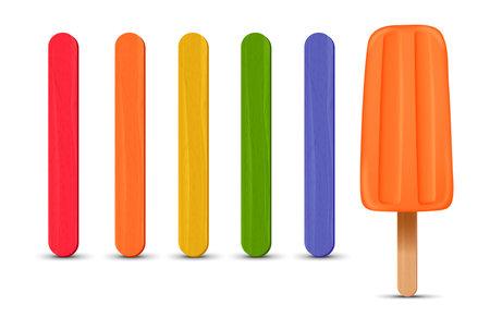 Orange strawberry ice cream 3D. Vector illustration, summer season. Vetores