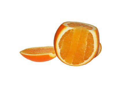 Parts of an orange orange. Orange on a white background. Sliced orange in different planes