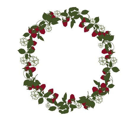 Pattern in the form of a wreath, a round label with berries and flowers. Raspberry berries are red with white flowers and green leaves. Red, white, green. Иллюстрация