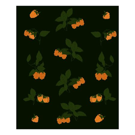 Seamless pattern with yellow berries. Yellow, green, white. Raspberry berries are yellow with green leaves on the branches. Berries on bushes in the garden.