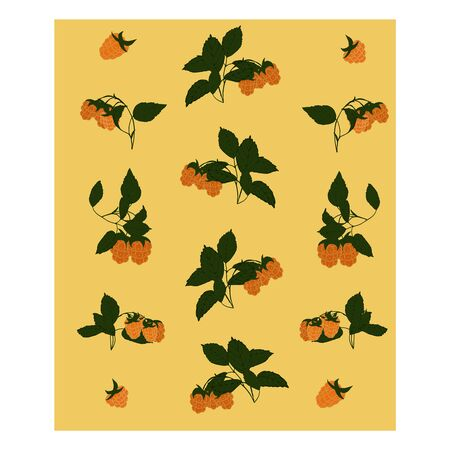 Seamless pattern with yellow berries. Raspberry berries are yellow with green leaves. Raspberry branches with berries. Yellow and green. Иллюстрация