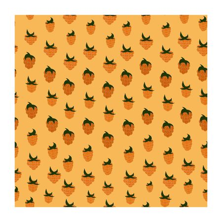Seamless pattern with yellow berries. Raspberry berries are yellow with green leaves. Raspberry branches with berries. Yellow and green. Monochrome.