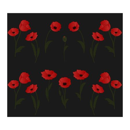 Seamless pattern with red poppies, flowers, buds and leaves. Floral pattern. Botanical pattern with red poppies. Bright, scarlet poppies in a seamless pattern. Black, red