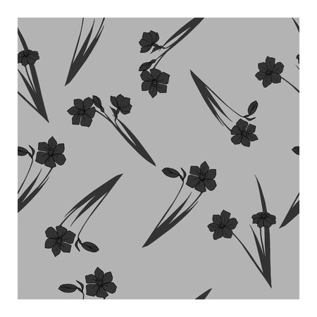 Seamless pattern with daffodil flowers in black and gray on a gray background. Black flowers, buds, leaves, bouquets on a gray background. Floral, elegant pattern. Only black and gray colors in a monochrome, pastel drawing