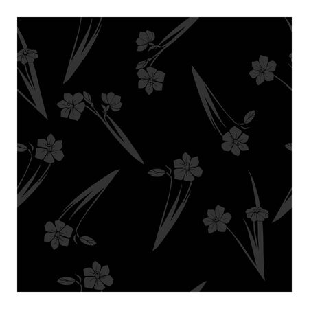 Seamless pattern with daffodil flowers in black gray on a black background. Black flowers, buds, leaves, bouquets on a black brown background. Floral, elegant pattern. Only black and gray colors in a monochrome drawing