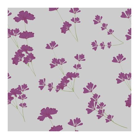 Seamless pattern with flowers, buds and lavender leaves. Floral pastel print, ornament, composition with lavender flowers of purple and pink color. Lavender in bouquets on a blue background.. Vector illustration