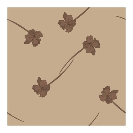 Seamless, abstract pattern with flowers, petals, buds in beige-brown tones on a beige background. Monochrome pattern in beige tones. Abstract, floral pattern. Pattern with silhouettes, outlines of flowers and buds.. Vector illustration