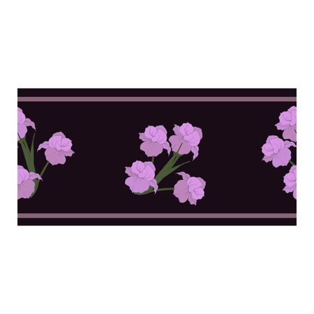 Seamless border, ornament, edging with pink flowers, petals, buds on a black cherry background. Narcissus. Flower pattern with pink flowers. Abstract flower pattern. Vector illustration