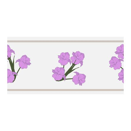 Seamless border, ornament, edging with pink flowers, petals, buds on a blue background. Narcissus. Flower pattern with pink flowers. Abstract flower pattern. Vector illustration. Vector illustration Illustration