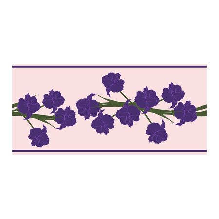 Seamless border, ornament, edging with blue flowers, petals, buds on a pink background. Narcissus. Flower pattern with blue flowers on a pink background. Abstract flower pattern. Blue daffodils in bouquets.. Vector illustration. Vector illustration Illustration