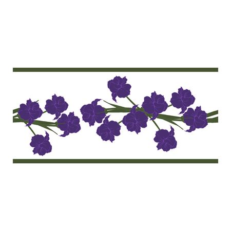 Seamless border, ornament, edging with blue flowers, petals, buds on a white background. Narcissus. Flower pattern with blue flowers on a white background. Abstract flower pattern. Blue daffodils in bouquets. Vector illustration