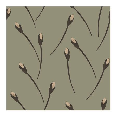Seamless, abstract pattern with flowers, buds in beige tones on a gray background. Monochrome pattern in beige and gray tones. Abstract, floral pattern. Pattern with silhouettes, outlines of flowers and buds.. Vector illustration Illustration