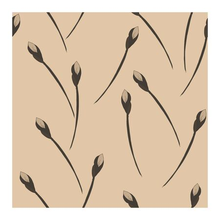 Seamless, abstract pattern with flowers, buds of beige-brown tone on a beige background. Monochrome pattern in beige tones. Abstract, floral pattern. Pattern with silhouettes, outlines of flowers and buds.. Vector illustration Illustration