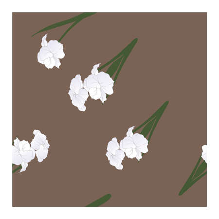 Seamless, abstract pattern with white flowers, petals, buds in green and gray tones on a gray and maroon background. Monochrome pattern, pastel. Abstract, floral pattern. Pattern with silhouettes, outlines of flowers and buds.. Vector illustration Ilustrace