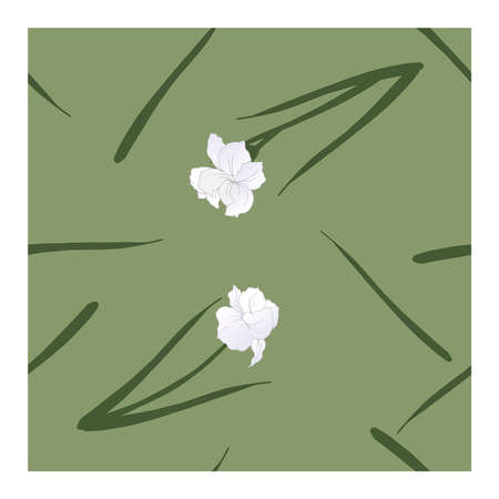 Seamless, abstract pattern with white flowers, petals, buds in green-gray tones on a gray-green background. Monochrome pattern, pastel. Abstract, floral pattern. Pattern with silhouettes, outlines of flowers and buds.. Vector illustration