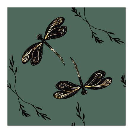 Seamless pattern with black dragonflies and a gold pattern on the wings and details on a blue and grey background. Dragonfly. Flight of a dragonfly. Dragonfly wings with a gilded pattern on a blue background.. Vector illustration