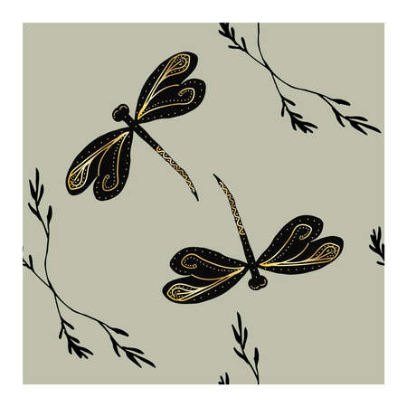 Seamless pattern with black dragonflies and gold pattern on wings and details on a grey background. Dragonfly. Flight of a dragonfly. Dragonfly wings with a gilded pattern on a gray background.. Vector illustration