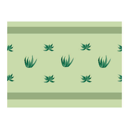 Seamless border with green aloe plants. Flower of aloe. Shrub with aloe. Ribbon, edging with aloe. Aloe leaves. Green .. Vector illustration Ilustrace