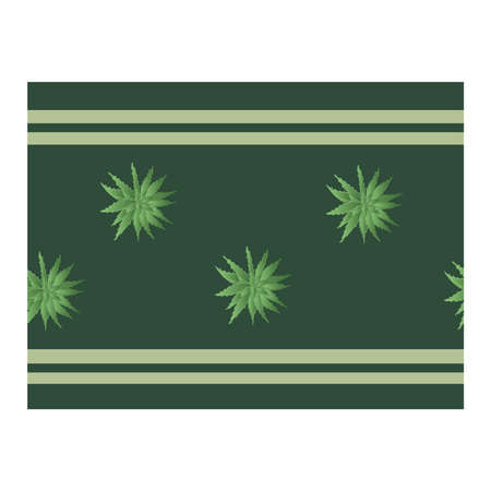Seamless border with green aloe plants. Flower of aloe. Aloe in the pattern. Ribbon, edging with aloe. Green .. Vector illustration