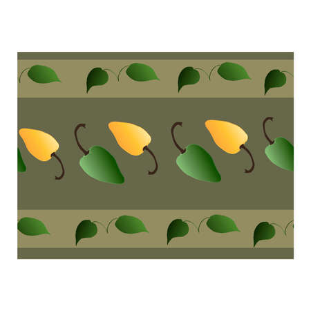 Seamless border with green, yellow pepper and green leaves on a gray background. Pepper. For fabric, paper, production, and creative design. Pattern, ribbon, pepper ornament .. Vector illustration