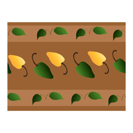 Seamless border with green, yellow pepper and green leaves on a brown background. It is well suited for fabrics, production, and paper .. Vector illustration