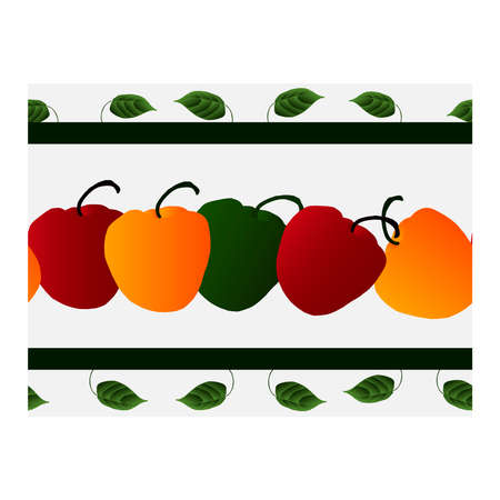 Seamless border with green, yellow, red pepper and green leaves on a light background. Pepper. For fabric, paper, production, and creative design. Pattern, ribbon, pepper ornament .. Vector illustration 일러스트