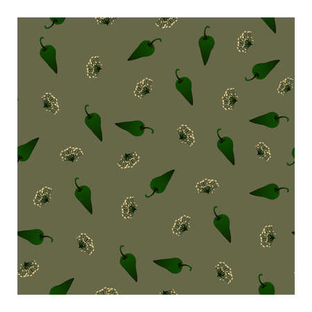 Seamless pattern with green pepper and dill flowers on a gray-green background. Sweet pepper, dill. For fabric, paper, production, and creative design. Vector illustration