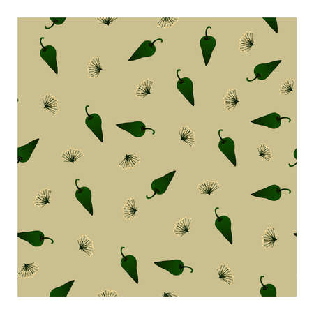 Seamless pattern with green pepper and dill flowers on a beige background. Sweet pepper, dill. For fabric, paper, production, and creative design .. Vector illustration