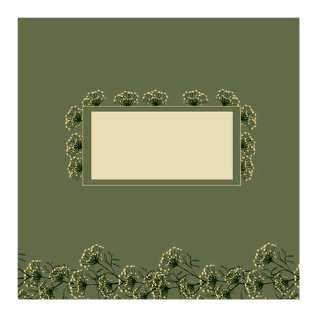 Creative background with dill flowers and green leaves and space for inscriptions and symbols. Dill. Good for poster, postcard, invitation, flyer, cover, banner, poster, brochure and other graphics. Vector illustration