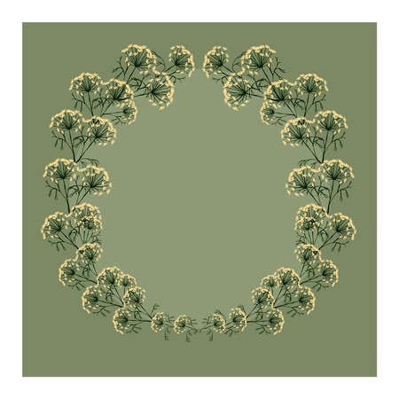 Editable background with dill flowers, green leaves in the shape of a wreath and space for inscriptions. Dill. Good for poster, postcard, invitation, flyer, cover, banner, poster, brochure and other. Vector illustration